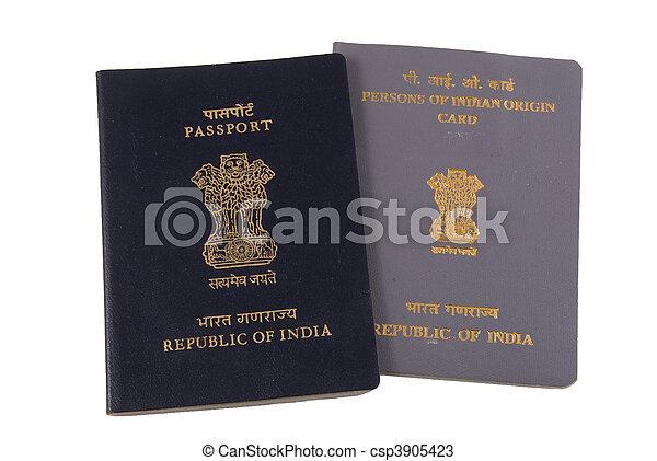Indian Passport and Dual Citizenship card - csp3905423