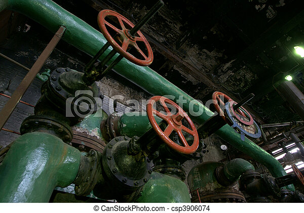Pipes, tubes, machinery and steam turbine at a power plant             - csp3906074