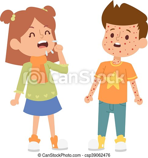 Ilustraciones vectoriales de Conjunto, vector, niños, enfermo ...