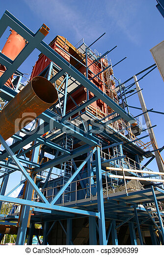 cranes and beams on construction of industrial factory - csp3906399