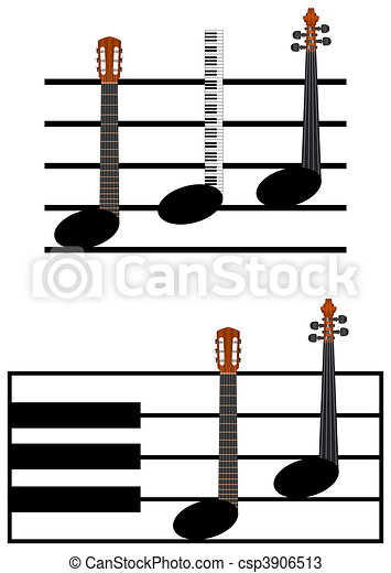 Drawings of isolated funny music notes on white background ...