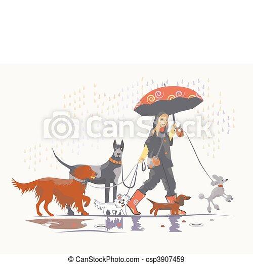 Girl under rain 2 - csp3907459
