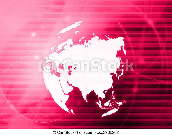Asia map technology-style artwork - csp3908202
