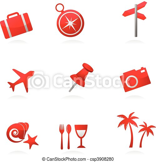 Red tourism icons - csp3908280