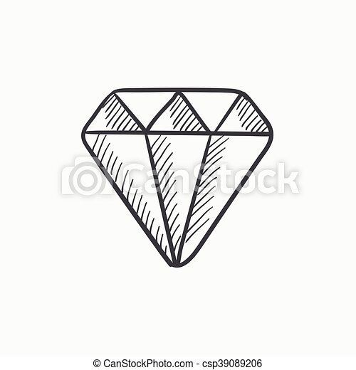 Diamantring gezeichnet  Vektor Clipart von skizze, diamant, icon. - Diamond, vektor ...