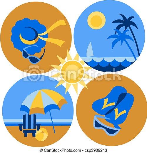 verano, viaje, iconos, playa, mar, -2 - csp3909243