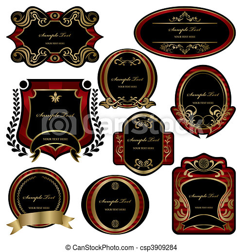 Abstract decoration labels set  - csp3909284