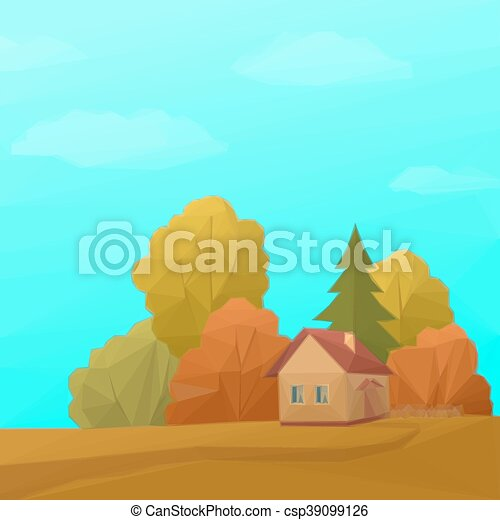 Vector Illustration of Landscape, House in Autumn Forest, Low Poly ...