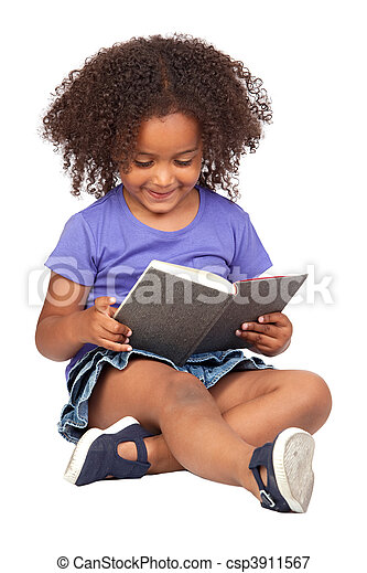 Student little girl reading with a book  - csp3911567