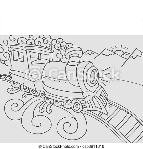 Train Doodle - csp3911818