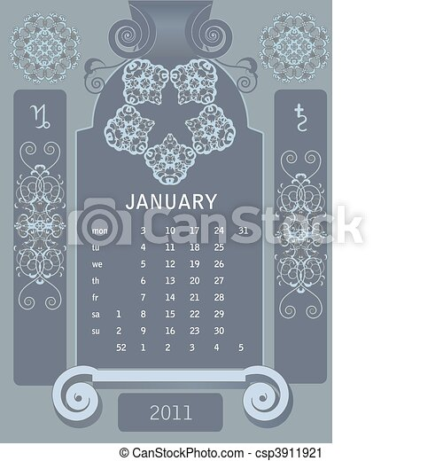 Retro windows calendar  - csp3911921