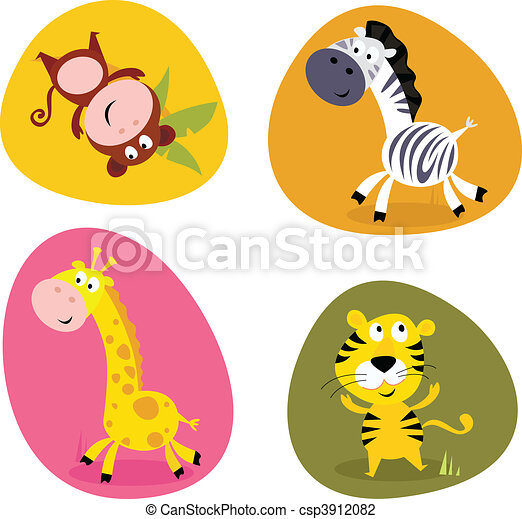Illustration set of cute animals - csp3912082