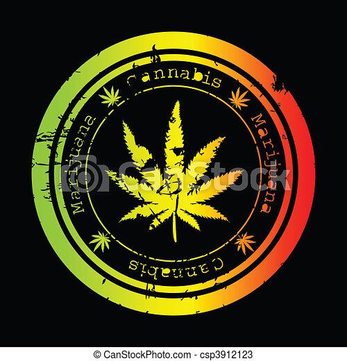 Cool Weed Leaf Drawings Grunge stamp with marijuana