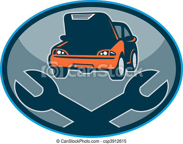 Automobile car breakdown mechanical repair  with spanner - csp3912615