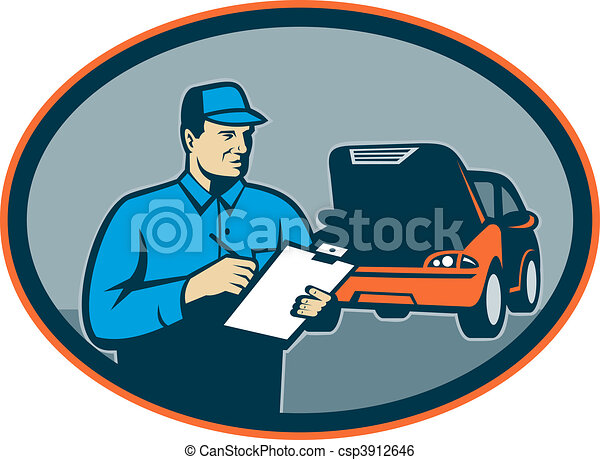 Automobile car repair mechanic with clipboard set inside an oval. - csp3912646