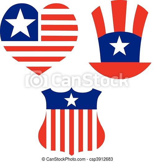 American patriotic symbols set for design and decorate. - csp3912683