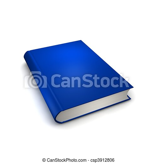 Blue isolated book. 3d rendered illustration. - csp3912806
