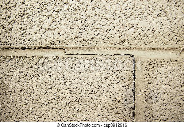 crack line in a cinder block foundation - csp3912916