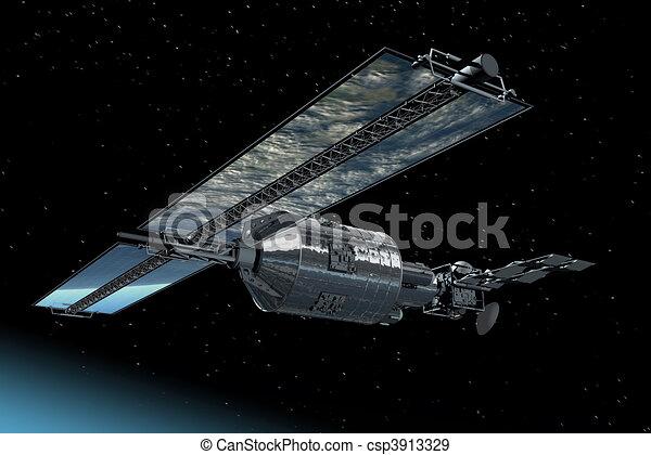 Telecommunication Satellite flying  - csp3913329
