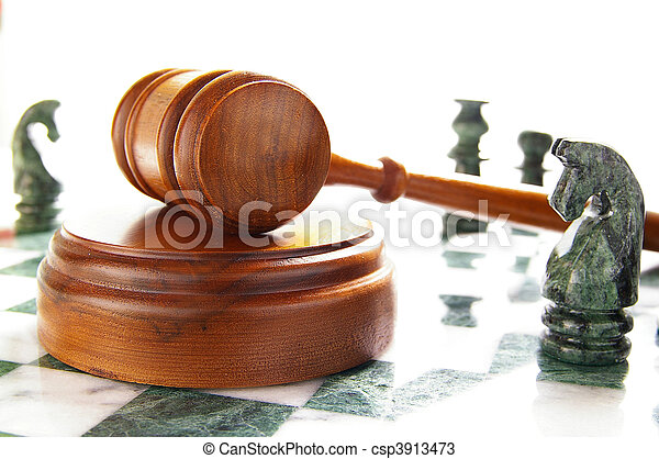 chess pieces and law gavel, over white - csp3913473