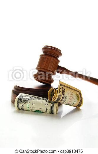 judges court gavel with money (law suit) - csp3913475