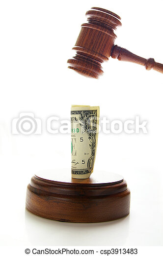 judges law gavel about to pound money, on white - csp3913483