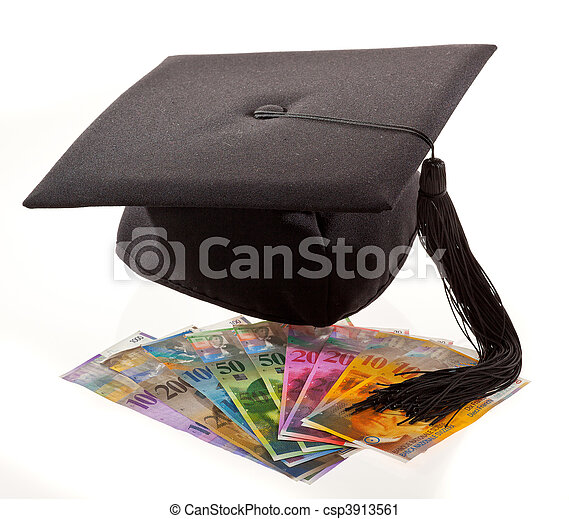 Mortar Board and the Swiss franc. Education costs. - csp3913561