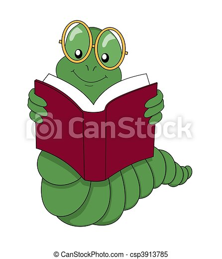 Stock Illustrations of Bookworm reading a book over a white background ...