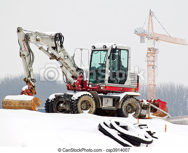 Construction site in the winter. Saisionale unemployment in the construction. - csp3914007
