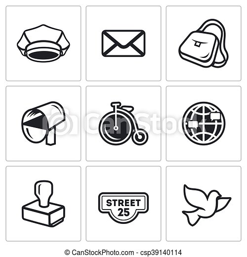 Vector Clip Art of Vector Set of Post Office Icons. Postman ...