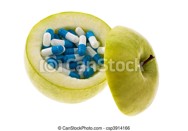Apple with tablets capsules. Symbol for vitamin tablets - csp3914166