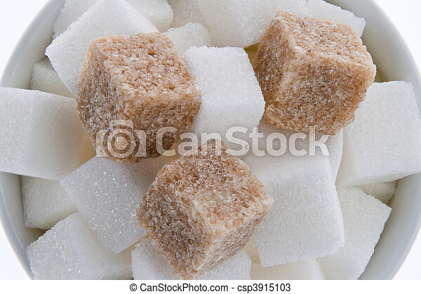 Brown sugar. Poor nutrition with carbohydrates - csp3915103