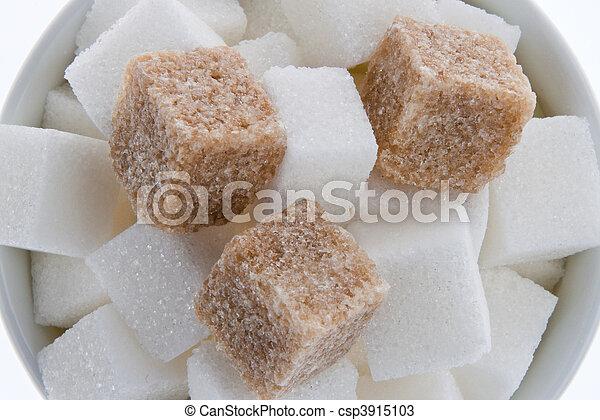 Brown sugar. Poor nutrition with carbohydrates - csp3915103