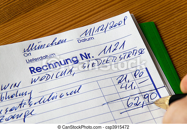 Handwritten invoice accounting document - csp3915472