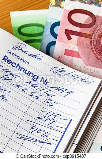 Handwritten invoice accounting document - csp3915487