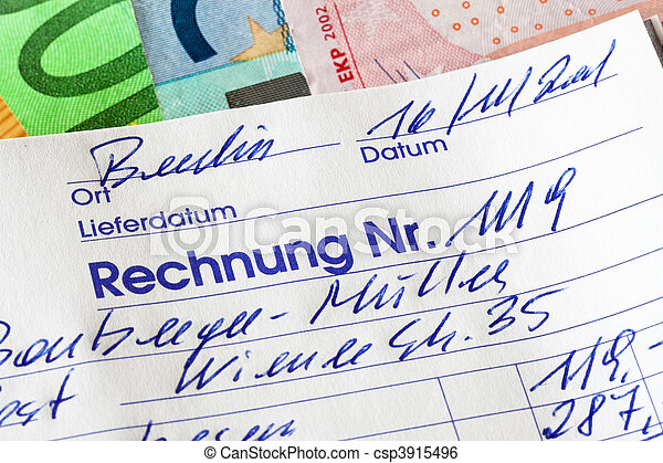 Handwritten invoice accounting document - csp3915496