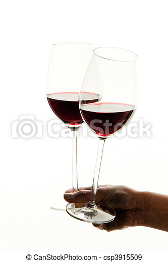 Wine glasses with wine for red wine tasting - csp3915509