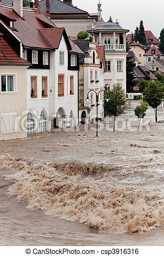Floods and flooding in Steyr, Austria - csp3916316