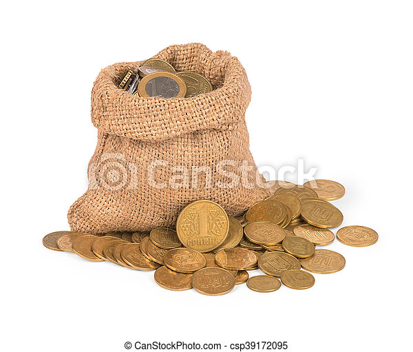 Bag with coins on white background - csp39172095