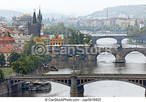 Prague bridges over the Vltava - csp3918423