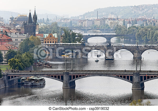 Prague bridges over the Vltava - csp3919032