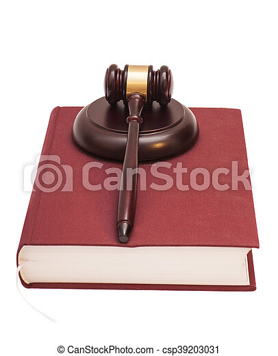 Gavel and book on white background - csp39203031