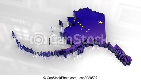3d Flag map og Alaska - csp3920597