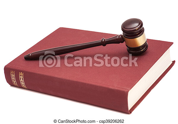 Gavel and book on white background - csp39206262