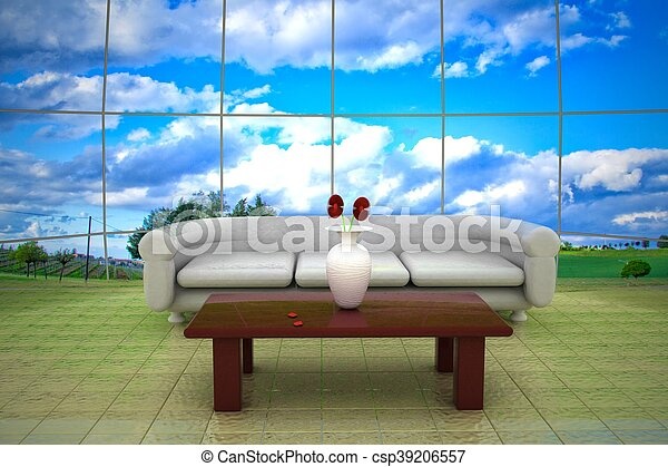 Clouds on the back of glass wall, 3d rendering