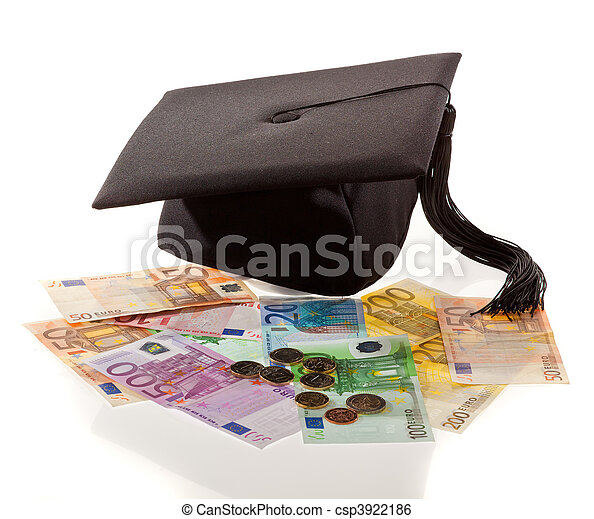 Mortar Board and the euro. Education costs in Europe. - csp3922186