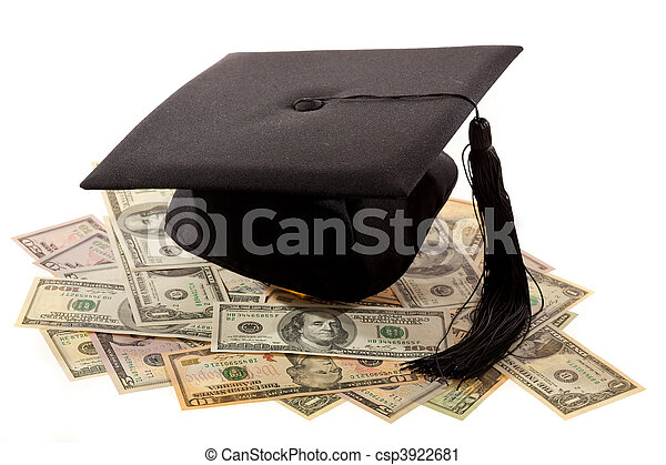 Mortar Board and the dollar. Cost of education in America. - csp3922681