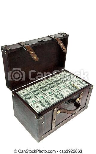 Chest with dollar banknotes. Financial crisis, crisis, debt. - csp3922863