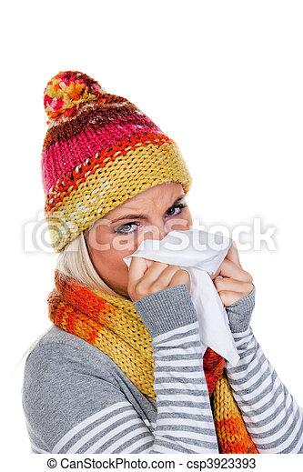 gripe, mujer, resfriados - csp3923393