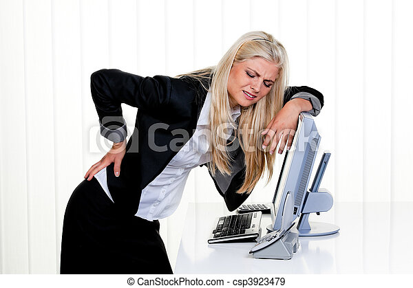 Woman with pain in the back office - csp3923479